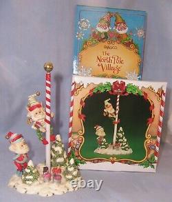 1986 Enesco The North Pole Village Elf Figurine RAZZLE & DAZZLE with Box 871508