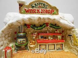 1986 Enesco The North Pole Village Santa's Workshop Music Night Light #316733