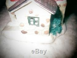 1993 mini house Christmas village train scene ASK for North Pole Dairy Products