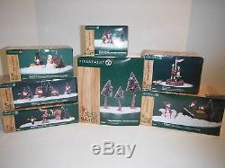 (7) Department 56 North Pole Woods Christmas Village Display & Accessories withBxs