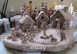 Ceramic Bisque Hand-Painted Santa's North Pole Village