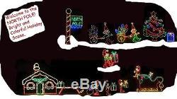 Christmas North Pole Santa Village Pkg LED Lighted Decoration Steel Wireframe