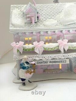 DEPT 56 NORTH POLE Elves Bunkhouse Santa's Woodworks Shabby Pink Chic Rose