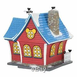 Department 56 Disney Village Mickeys Christmas Lit House, 6.26 inch (Red)