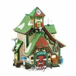 Department 56 North Pole Village Reindeer Stables Rudolph Lit House 4025278 NEW