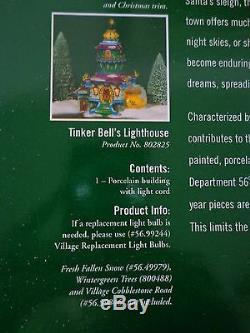 Dept 56 North Pole Tinker Bell's Lighthouse #802825 Heritage Village Retired NEW