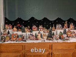 Dept 56 North Pole Village Lot 47 houses + accessories, trees, and more