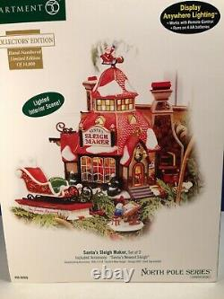 Dept 56 North Pole Village SANTA'S SLEIGH MAKER Set of 2 56.56950 Brand New