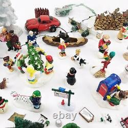 Dept 56 Snow Village Accessories LOT Trees Figurines Train Crossing Fence People