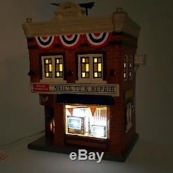 Dept 56 Snow Village Neil's TV & Repair Lighted Store Shop 6003136 NEW Ltd #0970