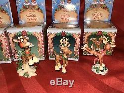 Enesco North Pole Village Elf Reindeer Lot 6 Zimnicki Blitzen Comet Donder NOS