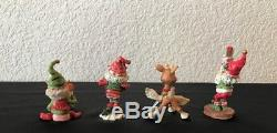 Enesco North Pole Village Elf & Reindeer Lot of 8 Zimnicki Swifty Smokey Comet +