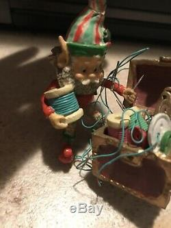 Enesco North Pole Village Elves Trimmer The Tailor Shop Elf Euc