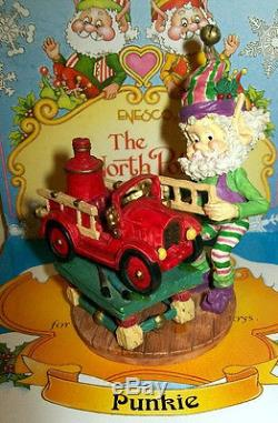Enesco North Pole Village PUNKIE With Fire Engine