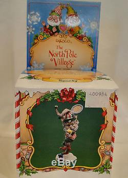Enesco North Pole Village SPUNKY Tennis Player Elf 830984 1991 Sandi Zimnicki