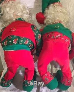 Enesco SANDI ZIMNICKI North Pole Village Elf Santa Posable 36 Set Of 2 1993