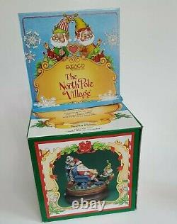 Enesco THE NORTH POLE VILLAGE, Santa Claus music box 876577 rare Sandi Zimnicki