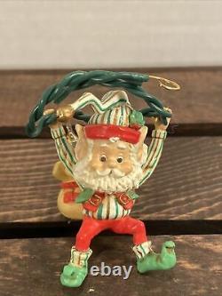 Enesco The North Pole Village Elf Sack Of Christmas Lights RARE HTF
