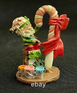 Enesco Zimnicki North Pole Village Elf Lucky Candy Cane Pewter Figurine 615536