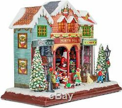 LED North Pole Toy Shop Wood Village 13 x 11 In, Plays Various Christmas Sounds