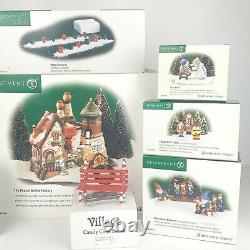 LOT Department 56 RETIRED North Pole Village Series with Candy Cane Bench & Lights