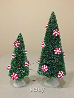 Lighted Peppermint Trees Village Sign Bench Landscape Dept. 56 53194 53114 52991