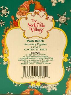 RARE 1994 ENESCO The North Pole Village PARK BENCH #861928 With Box FIGURINE