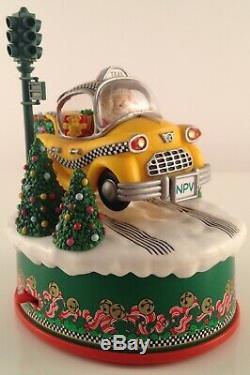 Rare Enesco North Pole Village Ramblin Santa Taxi Illuminated Action Musical