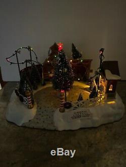 Rare Lemax North Pole Christmas Tree Lot Lighted Sounds Christmas Train Village