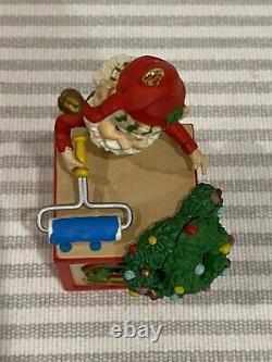 The North Pole Village Enesco Elf Painting Large Block Rare Christmas Ornament